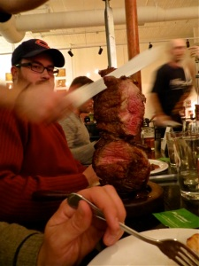 Endless amounts of meat at Harvest Brazilian Grill, Mandan, North Dakota.