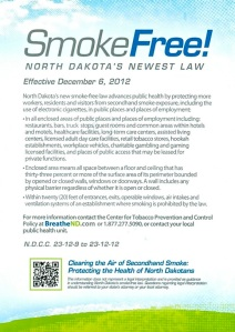 North Dakota Smoke Free announcement retrieved from the mail box on December 5, 2012.