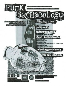 Punk Archaeology handbill produced by Joel R. Jonientz, Grand Forks, North Dakota.