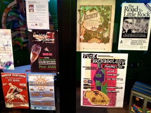 Various handbills in the entrance of Rhombus Guys in downtown Fargo, North Dakota. Punk Archaeology handbill lower right.