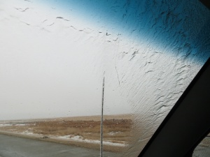 Ice forming on the windshield and radio antenna during the early stages of Gandolf the White Blizzard.