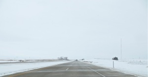 Winter driving on Interstate 94 in North Dakota, February 2013.