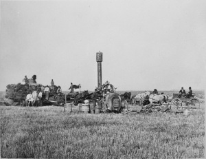 Threshing on the Dalrymple mechanized bonanza farm, Cass County, Dakota Territory, 1877. Photo with the ND Institute for Regional Studies, 2029.11.1.