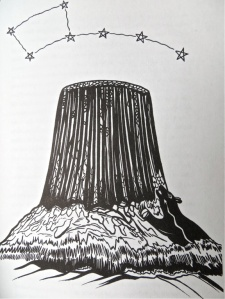 "Devil's Tower illustration by Al Momaday in N. Scott Momaday, ""The Way to Rainy Mountain"" (1969), 9."