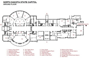 North Dakota State Capitol meeting room locations. Missouri River Room is #16, bottom-center of map.