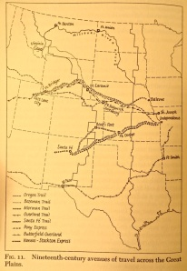 Nineteenth century routes across the Great Plains.