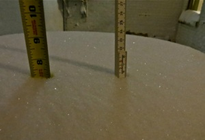 Snow measurements from February 10, 2013, at 7:00PM (CST) in downtown Fargo, North Dakota.