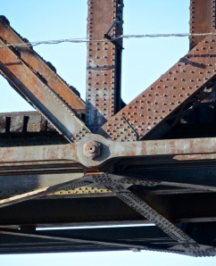 A close up of the historic railroad bridge spanning Bismarck-Mandan.
