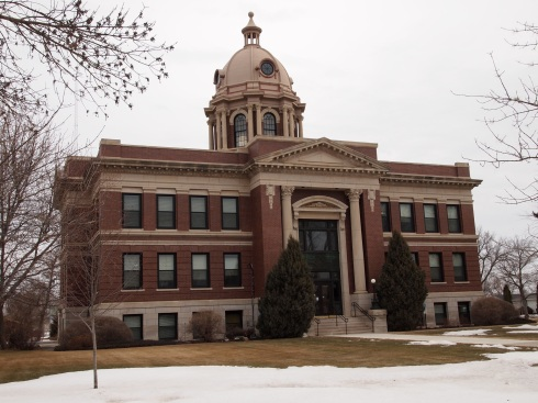 An April 2013 photo of the Dickey County Courthouse built from 1910-1912 in Ellendale, North Dakota.