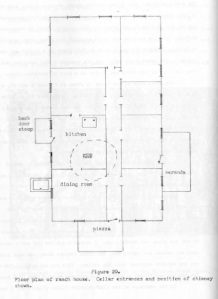 "The layout of the Elkhorn Ranch home in Dee Taylor, ""Archeological Investigations of the Elkhorn Ranch Site"" (1959), 49."