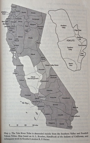 The Tule River Tribe's ancestors and map illustration. (Frank & Goldberg, 2010: 23)