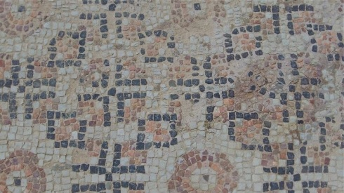 Close-up mosaic detail from Kourion, Cyprus.