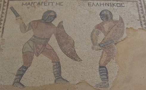 A mosaic from a Roman gladiator's home in Kourion, Cyprus. Mosaics are not for cowards.