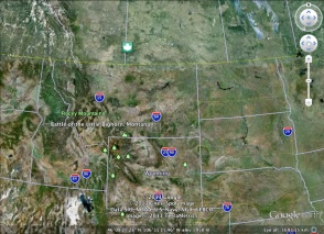 Greasy Grass/Little Big Horn from the Google Earth imaging.