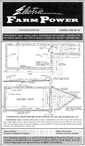 Plans to a root cellar from Summer 1976, No. 68, North Dakota State University Extension Service.