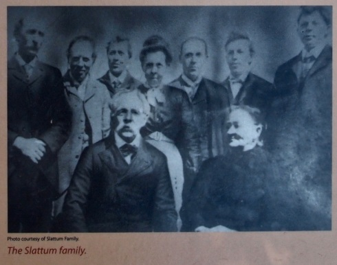 The Slattum family, this photo from the public historical signage at the cabin site. Photo taken on June 16, 2013.