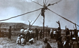 The building of a Crow Sun Dance Lodge from the 1940s. (Yellowtail, 2007: xviii)