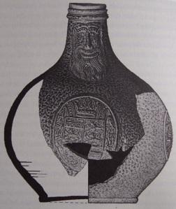 German-produced Bartmann wine bottle from the British settlement site of Jamestown, Virginia. (Smith, 2008: 12)