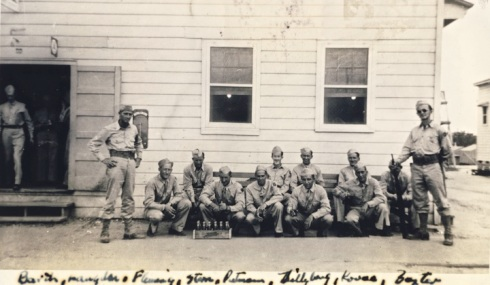 An informal photo of Barth's medical detachment. Charles (kneeling) is second from the left.