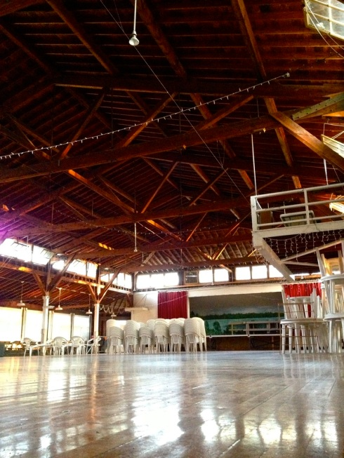 Pavilion interior, from hardwood floor to exposed rafter ceiling.