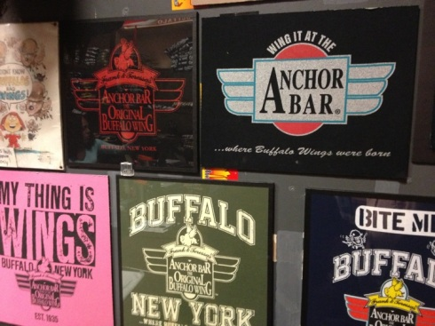 Anchor Bar merchandise at the original birthplace of the Buffalo chicken wing, this in Buffalo, New York.