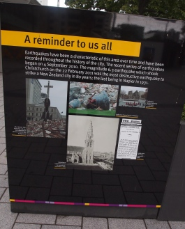 A public history display in Cathedral Square, downtown Christchurch, New Zealand. Photo from November 26, 2013.