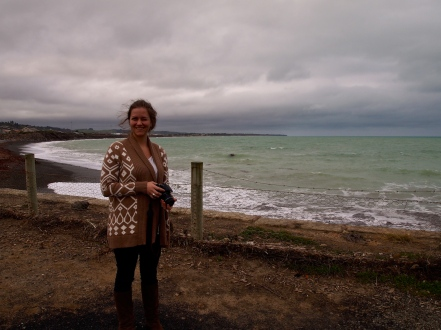 Molly and I on the penguin refuge beach in Oamaru, New Zealand.