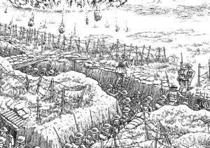 A section of Joe Sacco's 24-foot-long illustrated panorama of the Battle of the Somme, First World War.