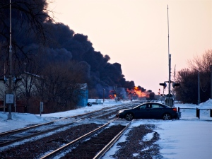 Photo looking west toward the oil fire in Casselton, North Dakota.