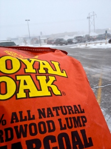 A bag of sensibly priced charcoal purchased as the blizzard set in.