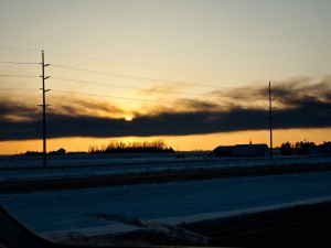 A horizontal smoke from the oil explosion in Casselton, North Dakota.