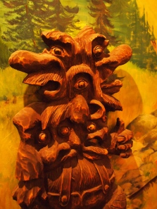 One of the many wood troll carvings at the Sons of Norway in Fargo, North Dakota.