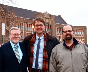 Left to right, Historian Frank Varney, Aaron Barth, and Political Scientist Steven Doherty.