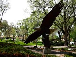 The eagle statue in Custer Park, Bismarck, North Dakota. View to the south.