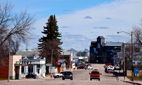 Downtown Walhalla, North Dakota, with the Walla Walla Theater to the left.