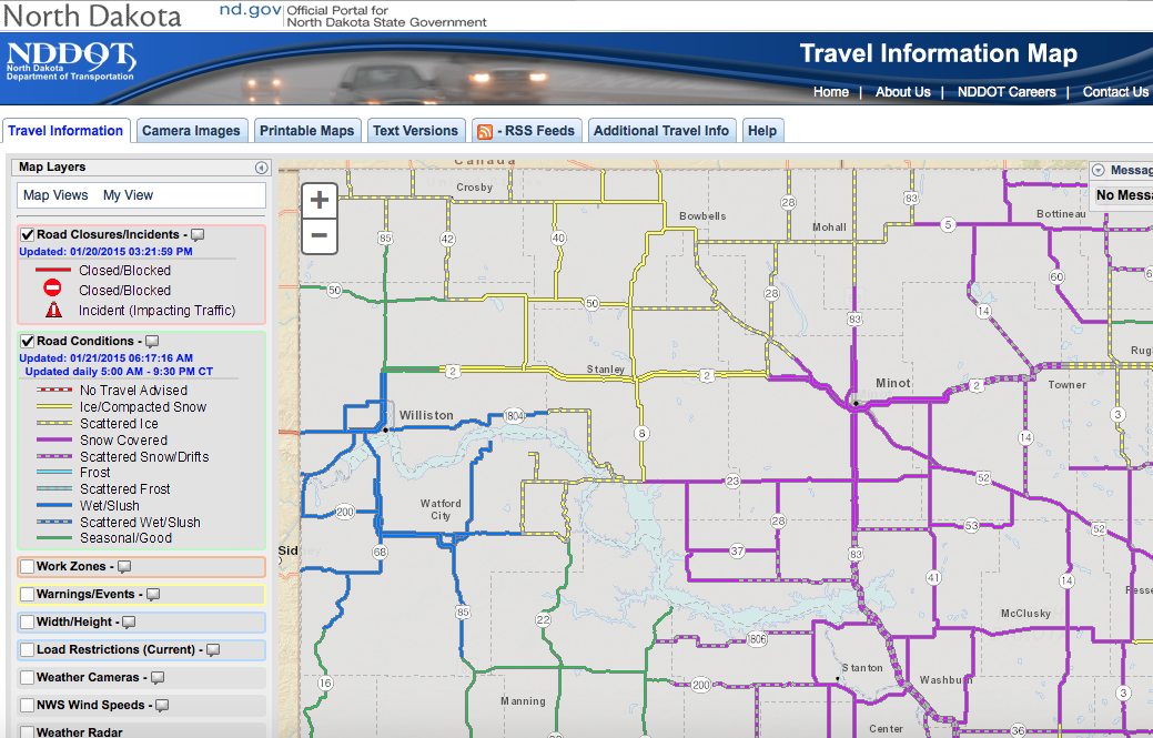 One Of The Only Known 6 23am Screen Shots From The Nddot Road Conditions Website