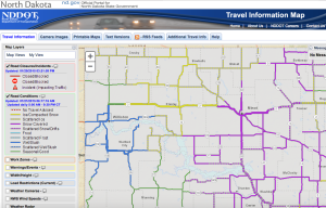 One of the only known 6:23AM screen shots from the NDDOT road conditions website on January 21, 2015.